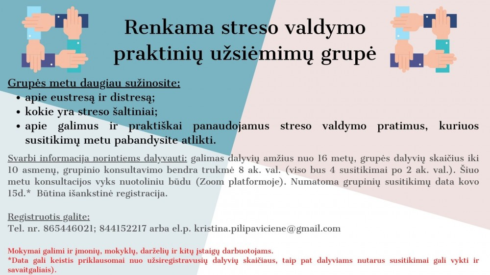 Kvietimas į streso valdymo praktinių užsiėmimų grupes
